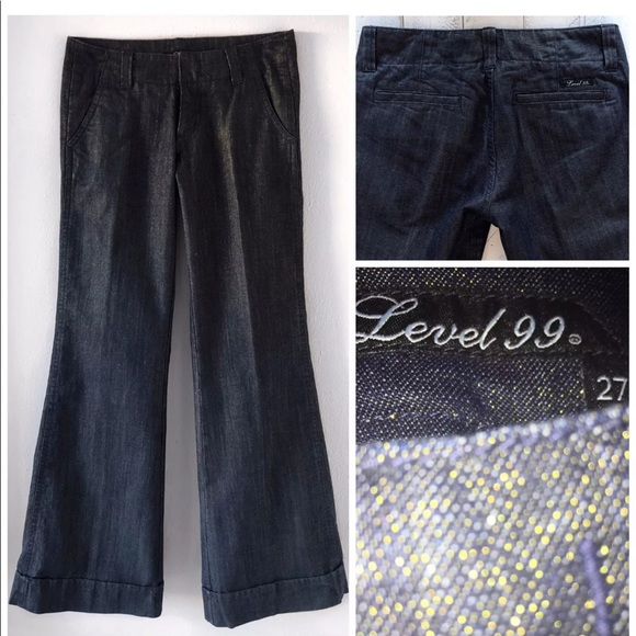 Level 99 Denim - LEVEL 99 SHIMMER WIDE LEG JEANS 27 X 34